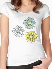 Yellow and Blue Daisies  Women's Fitted Scoop T-Shirt