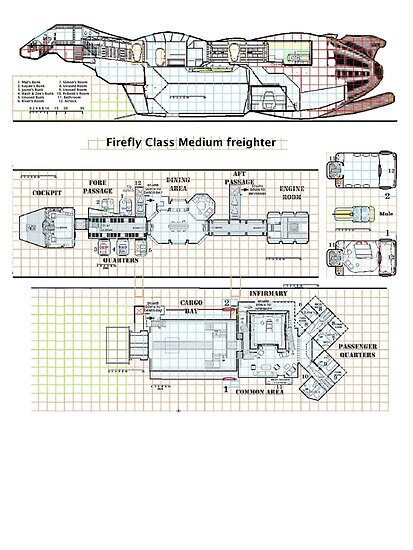 Serenity Firefly floorplan schematics by Radwulf