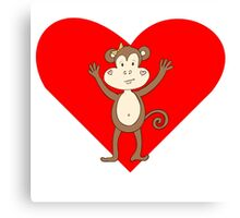 Happy Monkey Girl Heart Canvas Print