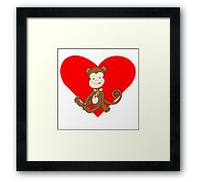 Baby Girl Monkey Heart Framed Print