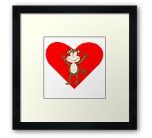 Smiling Girl Monkey Heart Framed Print