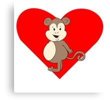 Fat Girl Monkey Heart Canvas Print