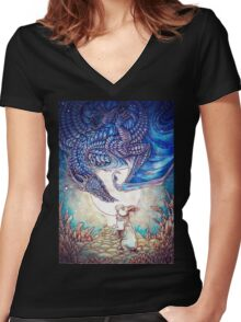 The Dragon & The Rabbit Women's Fitted V-Neck T-Shirt