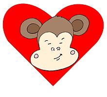 Smirking Monkey Face Heart by kwg2200