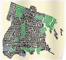 Bronx, New York City Typography Map Poster