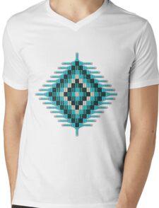 Turquoise Native Beadwork Sunburst Mens V-Neck T-Shirt