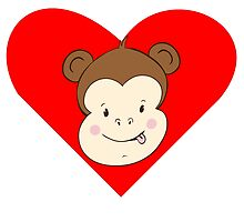 Silly Monkey Face Heart by kwg2200
