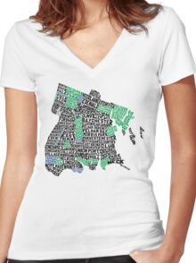 Bronx, New York City Typography Map Women's Fitted V-Neck T-Shirt