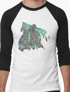 Bronx, New York City Typography Map Men's Baseball ¾ T-Shirt