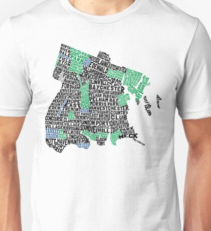 Bronx, New York City Typography Map Unisex T-Shirt