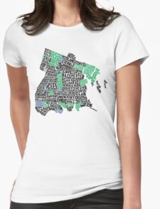 Bronx, New York City Typography Map Womens Fitted T-Shirt