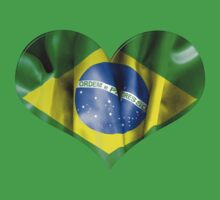 Brazil Flag Textured Heart Baby Tee