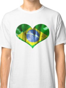 Brazil Flag Textured Heart Classic T-Shirt