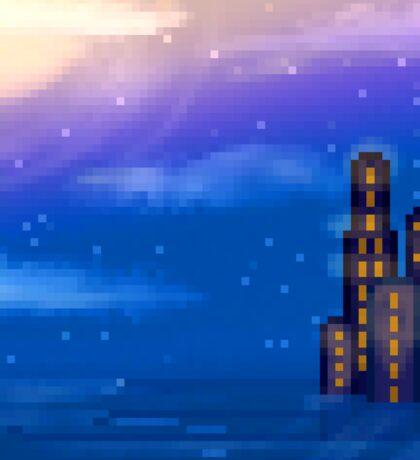 Pixel City on water landscape Sticker