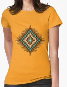 Brown and Turquoise Native Beadwork Sunburst Womens Fitted T-Shirt
