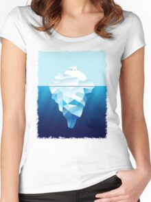 Ice Burg And Polar Bear Women's Fitted Scoop T-Shirt