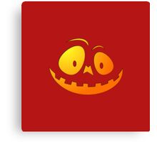 Cheeky Pumpkin Face on Blood Red Canvas Print