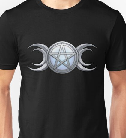 Wiccan Silver and Moonstone Triple Goddess Unisex T-Shirt
