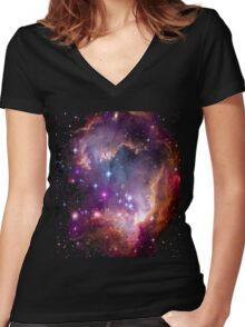 Colorful Galaxy Pattern Women's Fitted V-Neck T-Shirt