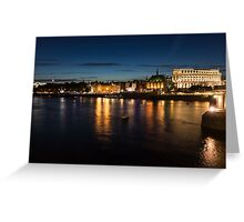 London Night Magic - Silky Reflections on the Thames River Greeting Card