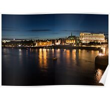 London Night Magic - Silky Reflections on the Thames River Poster