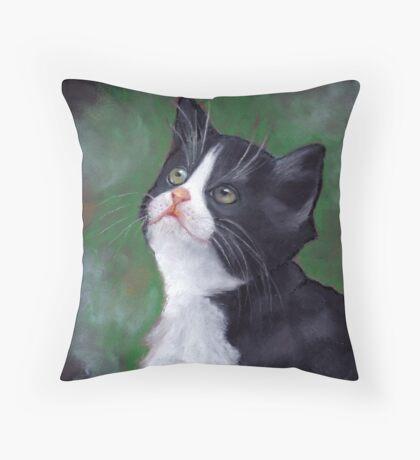 Tuxedo Cat Looking Up: Kitten: Oil Pastel Painting Throw Pillow