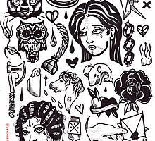 black white tattoo flash sheet by resonanteye