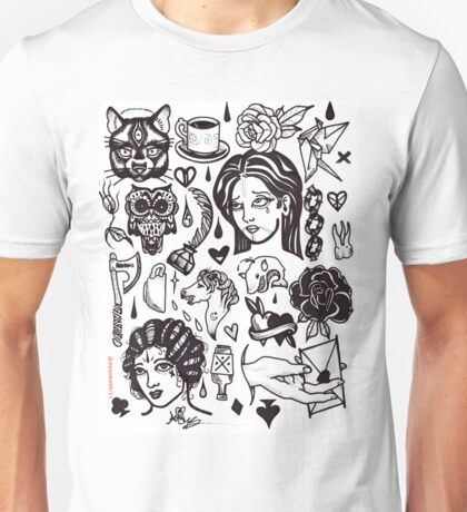 black white tattoo flash sheet Unisex T-Shirt