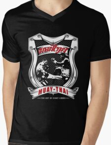 muay thai fight badge retro badge thailand martial art shirt sticker Mens V-Neck T-Shirt