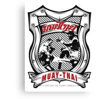 muay thai fight badge retro badge thailand martial art shirt sticker Canvas Print