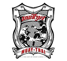 muay thai fight badge retro badge thailand martial art shirt sticker Photographic Print