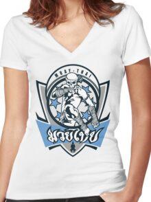 muay thai skull thailand martial art sport logo badge sticker shirt Women's Fitted V-Neck T-Shirt