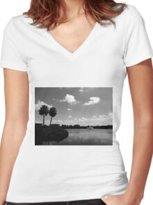 A Lake in Downtown  Women's Fitted V-Neck T-Shirt