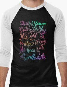 """Starman"" – David Bowie Lyrics, Hand Lettering Men's Baseball ¾ T-Shirt"