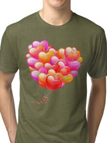 Red , Orange, Pink, Purple and Lilac Hearts Shaped Balloons , Love, Romance, Excitement, Art, Happiness  Tri-blend T-Shirt