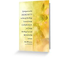 Serenity Prayer Yellow Green Orchids Panels Greeting Card