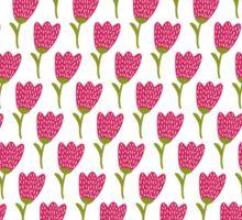 Simple doodle tulip pattern. Cute flower seamless background. Summer wallpaper. Sticker
