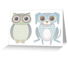 Cool Owl and Lanky Dog Greeting Card
