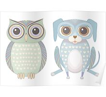 Cool Owl and Lanky Dog Poster