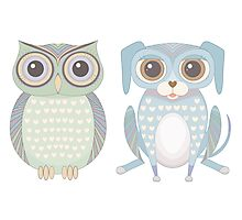 Cool Owl and Lanky Dog Photographic Print