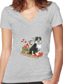 Black Tri Aussie on a Sled Women's Fitted V-Neck T-Shirt