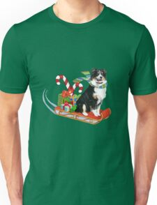 Black Tri Aussie on a Sled Unisex T-Shirt