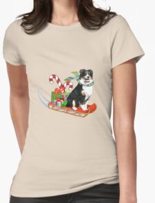 Black Tri Aussie on a Sled Womens Fitted T-Shirt