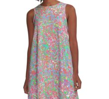 Splatter Abstract in Pinks, Yellows, Peaches, Greens & Blues A-Line Dress