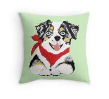 Blue Merle Aussie Pup Throw Pillow