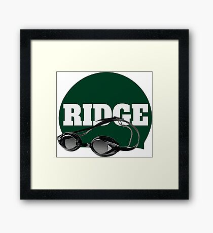 Ridge Swimming Cap and Goggles Framed Print