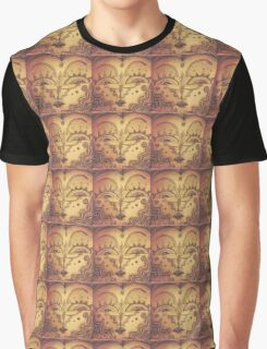 Abstract Face Sepia Graphic T-Shirt