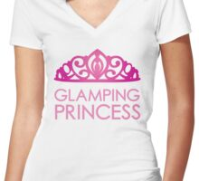 Glamping Princess Women's Fitted V-Neck T-Shirt