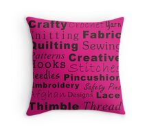Crafty Text - Pink (inverted) Throw Pillow