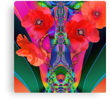 Fractal Fantasy Vase with Red Poppies Canvas Print